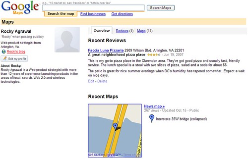 Google Maps profile page