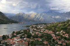 The approaching storm (Irina Kostenko) Tags: travel blue urban mountains water architecture clouds landscape bay high perspective stormy picturesque montenegro antiquity kotor