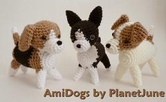 Beagle, Boston Terrier, Jack Russell Terrier (crochet amigurumi)