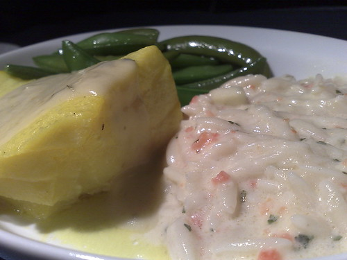 Saffron Vodka Poached Cod with Asparagus Leek Sauce