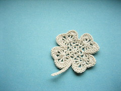 white clover (ccyytt) Tags: blue white handmade crochet craft clover