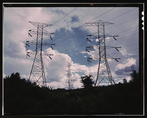 Transmission line towers and high tension lines that carry current generated at TVA's Wilson Dam hydroelectric plant, near Sheffield, Ala. (LOC)