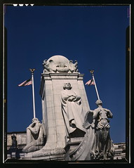 Columbus Statue in front of Union Station, Washington, D.C.  (LOC) (The Library of Congress) Tags: blue columbus sculpture monument statue lady vintage washingtondc dc washington christopher slidefilm relief 1940s american bow hero transparency 4x5 lf libraryofcongress marble unionstation decent largeformat columbusstatue masthead 1943 figurehead transparencies caravelle loradotaft onshore historicalphotographs americanmythology relieg xmlns:dc=httppurlorgdcelements11 dc:identifier=httphdllocgovlocpnpfsac1a35452 19120608