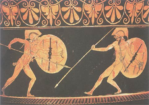 Achilles fighting with Hector, attic vase 490 BC