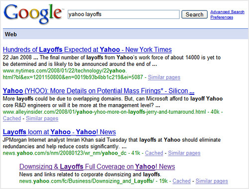 Yahoo Layoffs On Google
