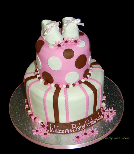 Pink and Brown 2 tier baby shower cake