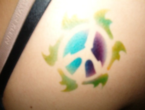 Flaming Peace Sign Airbrush Tattoo