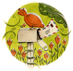 Bird mail (maralina!) Tags: orange flower bird art fleur illustration mailbox garden watercolor poste mail drawing postcard aquarelle jardin vert dessin delivery oiseau verdure lettre airmail paravion selfpromotion encredechine boiteauxlettres boitepostale maralsassounicom