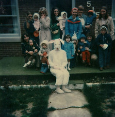 Easter Bunny (~ Lone Wadi ~) Tags: polaroid easterbunny costume mask frontporch outdoors easter creepy spooky weird strange odd peculiar retro 1970s unknown