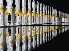 Abu Dhabi Sheik Zayed Mosque (Massimo Cuomo Photography) Tags: abu dhabi mosque architecture repetition pattern night tripod nikon massimo cuomo uae asia sheik zayed grand moschea holy place photography columns reflection water