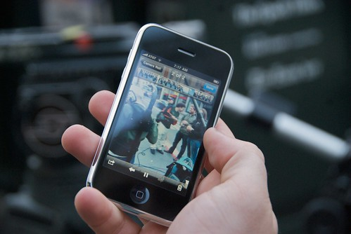 Adam Jackson's first video on his iPhone 3GS in front of the San Francisco Apple Store