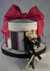 Barbie cake (Dot Klerck....) Tags: pink cake southafrica stripes feathers barbie capetown dot bow wellington hotpink handmodeling eatcakeparty