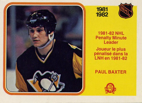 paul baxter, pittsburgh penguins, 82-83, 81-82, o pee chee, penalty minute leader, nhl, hockey, hockey card