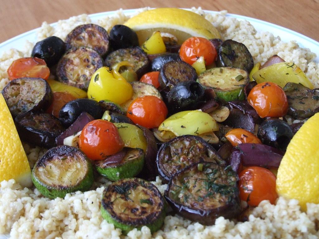 Vegetables over Bulgur