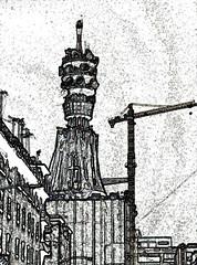 Communications Tower (Alexander H.M. Cascone) Tags: city building tower photoshop mexico stencil mexicocity df crane structure modification communications