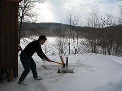 Splitting wood for Lusk woodstove