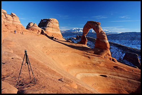 My tripod and the Delicate Arch, sunset