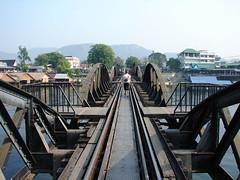 Sarah crossing the River Kwai 2 (pezmerised) Tags: bridge river thailand kwai