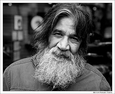 Gastown Steve (Bernie Durfee) Tags: street trip travel portrait bw white canada black vancouver digital america canon beard photography photo bc image britishcolumbia steve north picture columbia images photograph northamerica british dslr tamron gastown 30d resident fineartphotos skancheli
