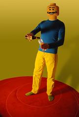 Duplo head (6/365) (Cassiefoeboe) Tags: blue red selfportrait green beer yellow groen blauw lego moustache sp bier geel rood zelfportret duplo snor proost hertogjan 365days