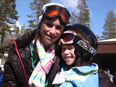Spring Skiing (alisonviolinist) Tags: blue trees sky brown snow black ski green skiing lift braces boots helmet gray poles alison