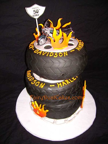 harley davidson motorcylce tires cake