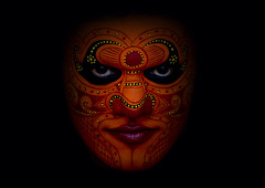 Theyyam dancer's face with make up - India (Eric Lafforgue) Tags: red orange india face canon democracy eyes worship vishnu indian makeup kerala explore indie ritual hindu indi maquillage indien hind indi inde southindia hodu southasia indland  hindistan devam indija   darkbackground ndia theyyam hindustan kannur kasargod 3342  theyam  lafforgue   ericlafforgue hindia indedusud  theyyattam canoneos1dsmarkiii ericlafforguecom bhrat  theyyaattam kolathunadu indhiya bhratavarsha bhratadesha bharatadeshamu bhrrowtbaurshow  hndkastan