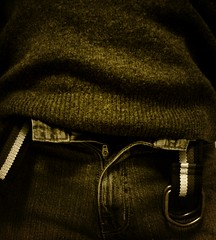 Don't you just hate... (faygate) Tags: portrait selfportrait texture me sepia belt pants squeeze jeans sp hate trousers stitching denim jumper lust tight wooly zip comfy baggy undone unzip sexay fgr imustbemad