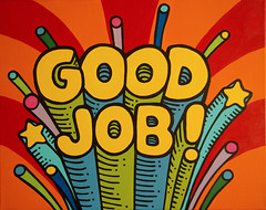 Good Job (invisibleElement) Tags: typography paint acrylic retro canvas goodjob invisibleelement handtype