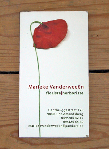 Mrie florist business card.