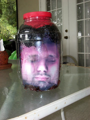 Head in a Jar out by the pool (cosmosjon) Tags: halloween face scary head creepy spooky gross sick prop severedhead frightening severed gory specialeffect decapitated ooky decapitate halloweendecoration headinajar fakehead halloweenprop facetexturemap