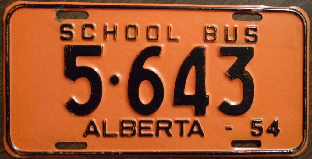 ALBERTA 1954 SCHOOL BUS PLATE