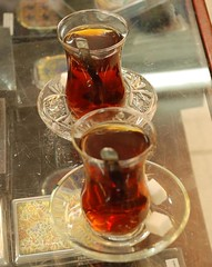 Turkish Tea while shopping in Antalya