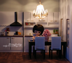 Yoko eating breakfast (Linda Leow) Tags: morning kitchen yoko dollhouse bluefairy pocketfairy dollhouselighting