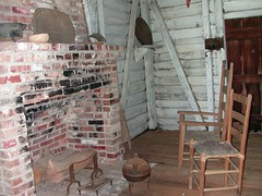 Cabin Interior (richies) Tags: life rural bathroom cabin fireplace louisiana university state chairs cut bricks away lsu hearth rough lumber hewn