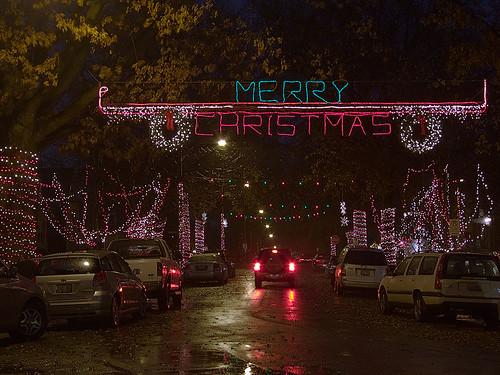Christmas lights, in Saint Louis Hills neighborhood, Saint Louis, Missouri, USA