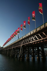 Bridge Of Flags (Chas Pope 朴才思) Tags: bridge harbour flag sydney australia nsw darlingharbour 1855mm sydneyharbour 2007 polariser iabse