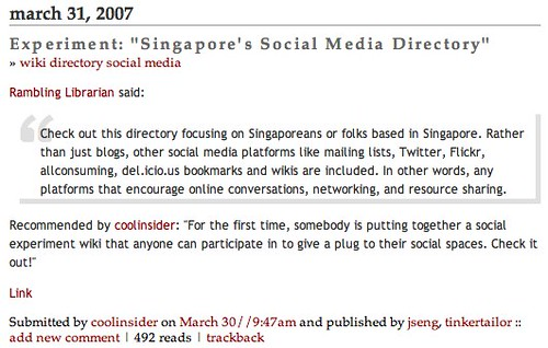 "Experiment: ""Singapore's Social Media Directory"" - listed at Tomorrow.sg"