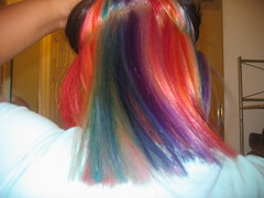 under (sidhu_707@sbcglobal.net) Tags: pink blue red orange brown black green yellow hair rainbow purple vibrant bottom violet monika blonde platinum