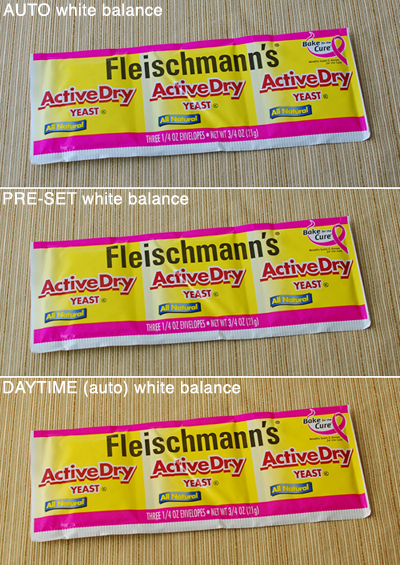 White balance differences