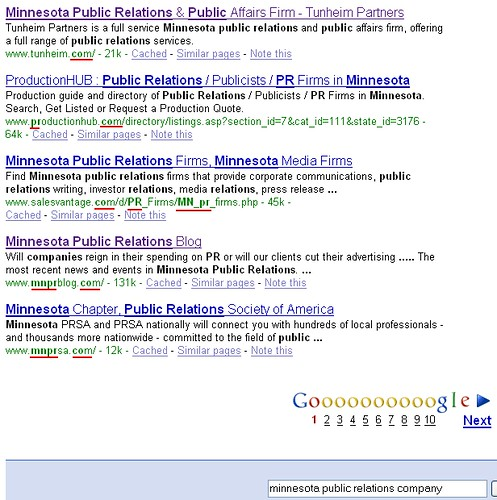 "Google ""Minnesota Public Relations Company"" Search Results - 03/15/08"