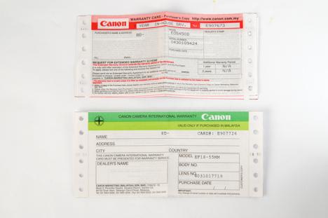 Canon XSi / 450D warranty