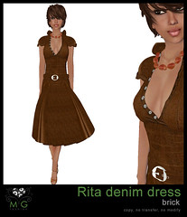 [MG fashion] Rita denim dress (brick)