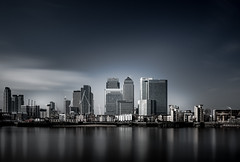 Canary Wharf Skyline (antonywakefield) Tags: blackwhite business canarywharf capital city comercial exposure finance greatbritain greenwich london longexposure mood offices photography reflections residential river sky thames tourism water