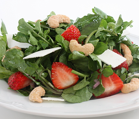strawberry salad, watercress, cashews