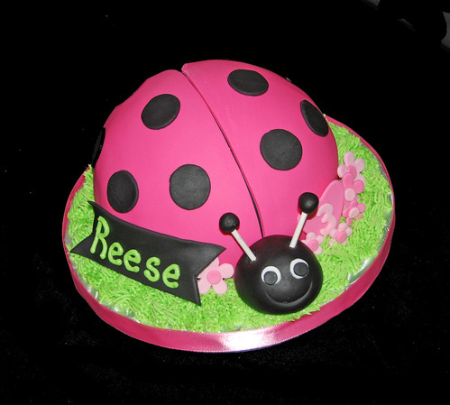 hot pink and black ladybug cupcake tower 3D ladybug topper cake
