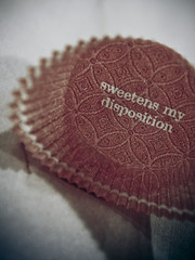 Sweet Disposition (TerryJohnston) Tags: macro cake paper words dof bokeh saying starbucks sample treat muffin wrapper mantra maplebar whataday muffintopping sweetenmydisposition canipleasegetafuckingrestart foundthisonmycamerafromyesterday forgottenimage samplevessel