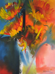 Sunflowers From Sarah 2007 by Stephen B Whatley (Stephen B Whatley) Tags: uk flowers stilllife sun london art painting petals artist september sunflowers sunflower expressionism fabulous oilpainting superbmasterpiece stephenbwhatley wonderfulworldofflowers