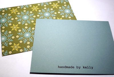 Christmas card, back + envelope
