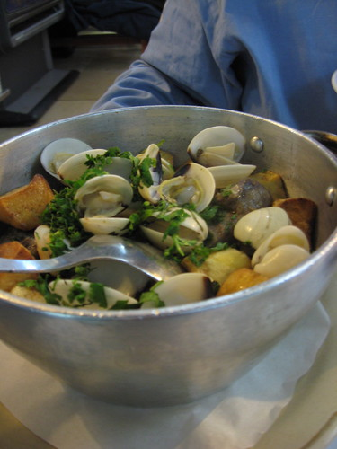 Clams, pork and potatoes